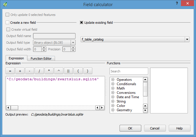 replace contents field f_table_catalog