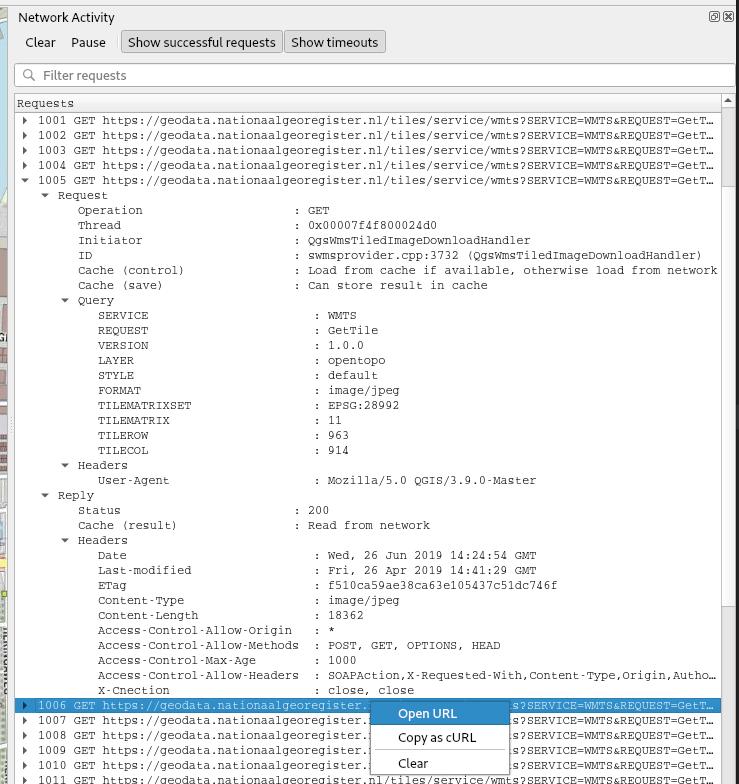 Information and context menu